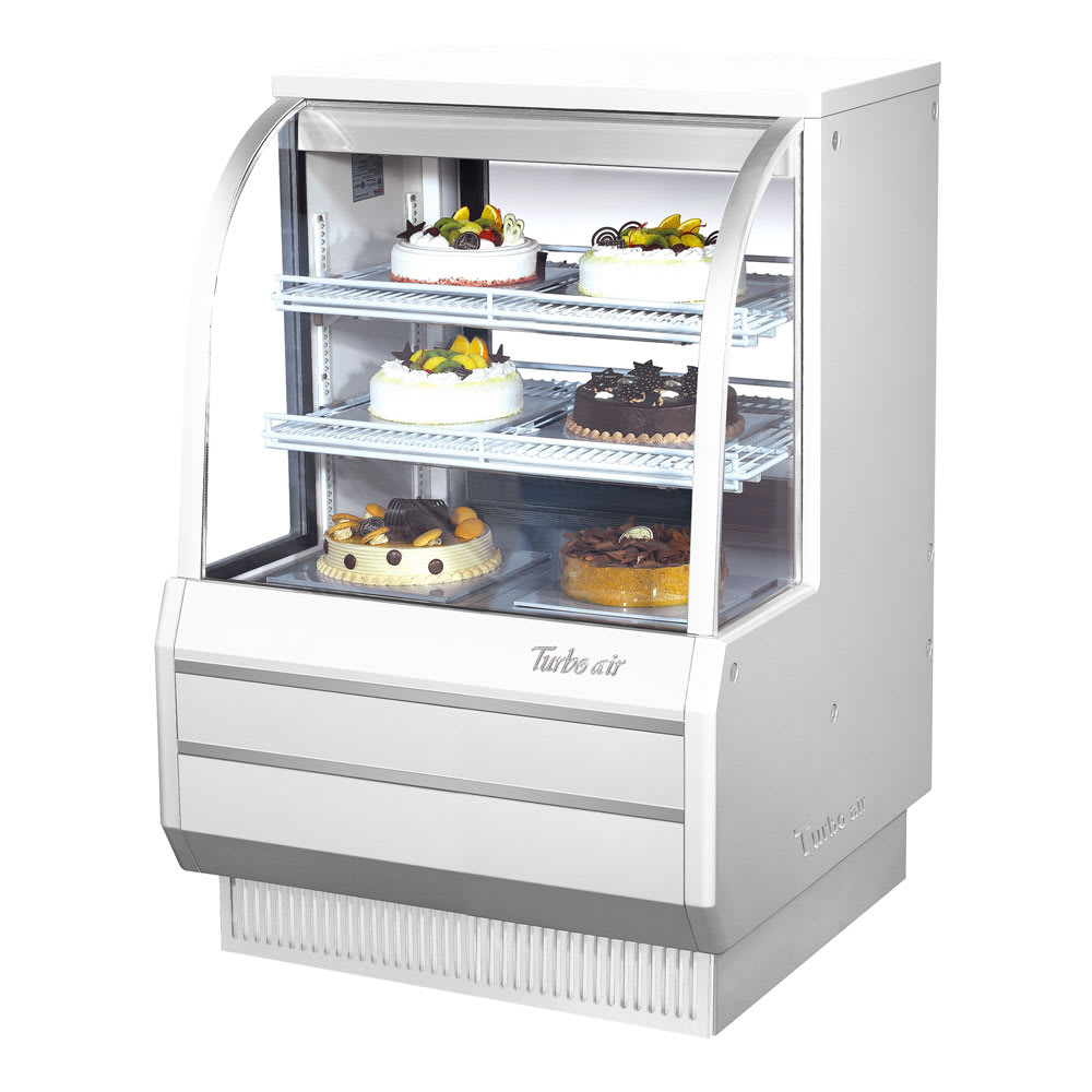 "Turbo Air TCGB-36-W-N 36.5"" Full Service Bakery Case w/ Curved Glass - (3) Levels, 115v"