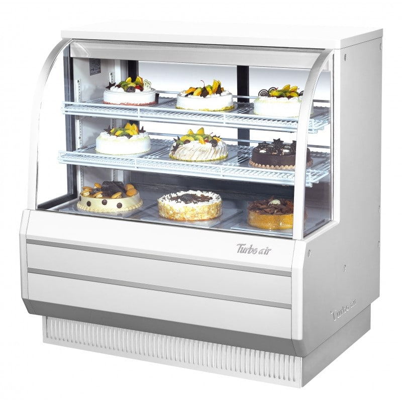 """Turbo Air TCGB-48DR-W(R) 48.5"""" Full Service Dry Bakery Display Case w/ Curved Glass - (3) Levels, 115v"""