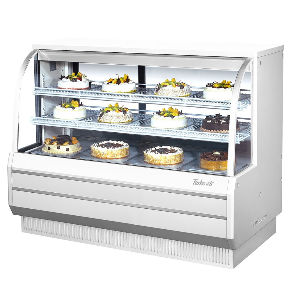 "Turbo Air TCGB-60-W-N 60"" Full Service Bakery Case w/ Curved Glass - (3) Levels, 115v"