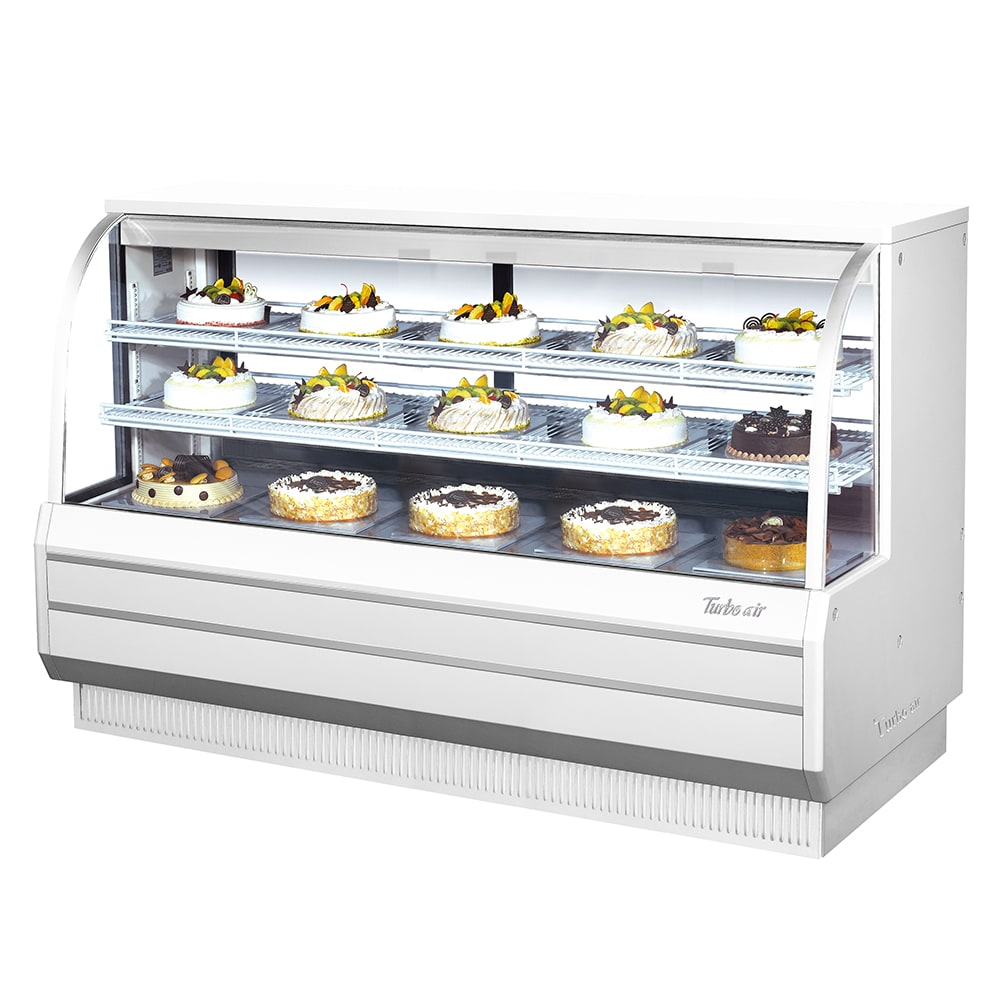 "Turbo Air TCGB-72-R 72.5"" Full Service Bakery Display Case w/ Curved Glass - (3) Levels, 115v"