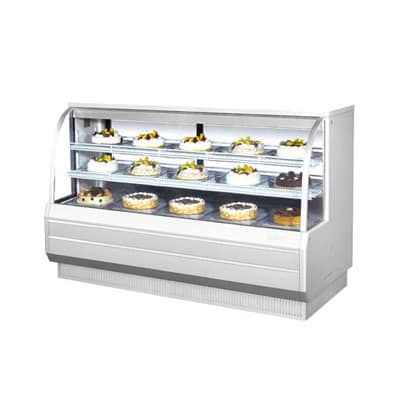 "Turbo Air TCGB-72CO-R-N 72.5"" Full Service Bakery Display Case w/ Curved Glass, (3) Levels, 115v"