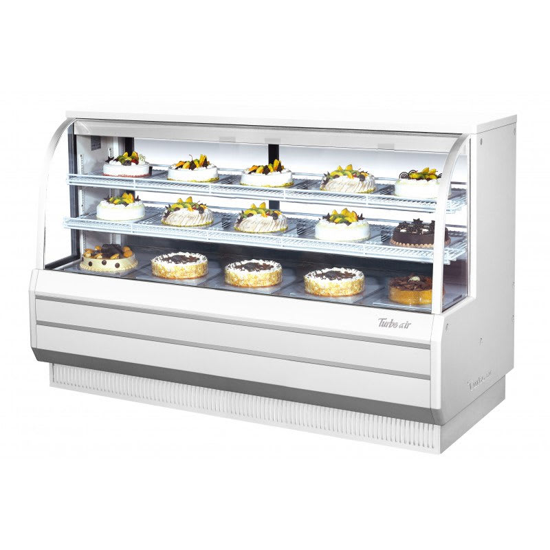 "Turbo Air TCGB-72-W-N 72.5"" Full Service Bakery Case w/ Curved Glass - (3) Levels, 115v"
