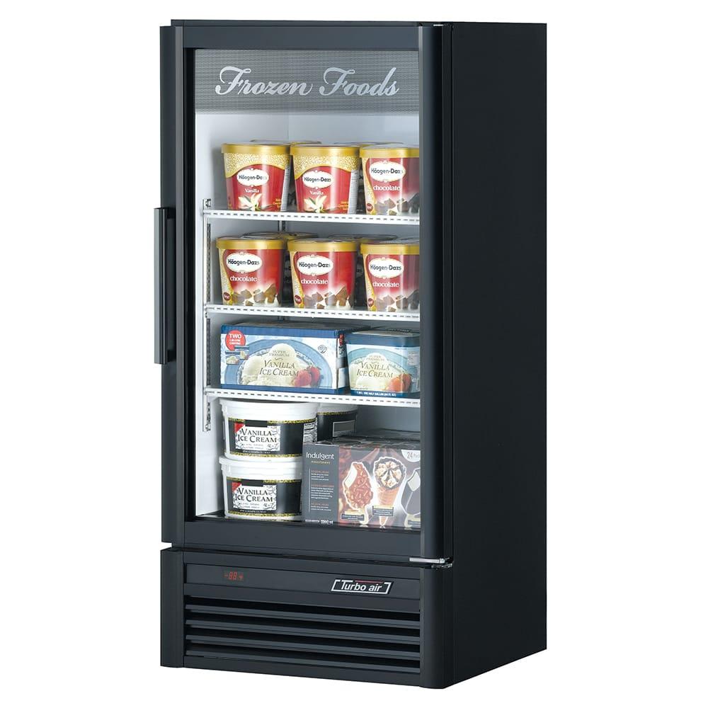 "Turbo Air TGF-10SD 25.75"" One-Section Display Freezer w/ Swinging Door - Bottom Mount Compressor, Black, 115v"
