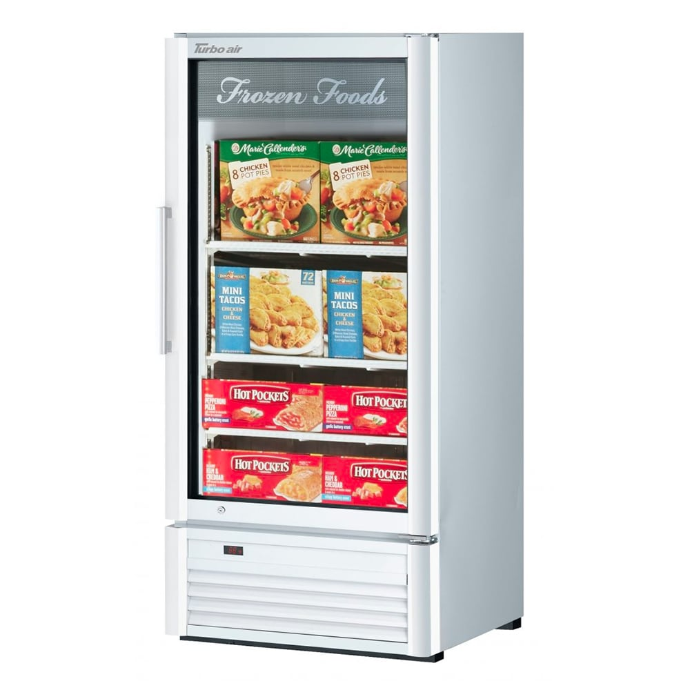 "Turbo Air TGF-10SD-N 25.75"" One-Section Display Freezer w/ Swinging Door - Bottom Mount Compressor, Black, 115v"
