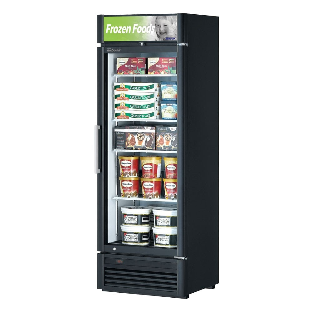 "Turbo Air TGF-15SD-N 26.38"" One-Section Display Freezer w/ Swinging Door - Bottom Mount Compressor, Black, 115v"