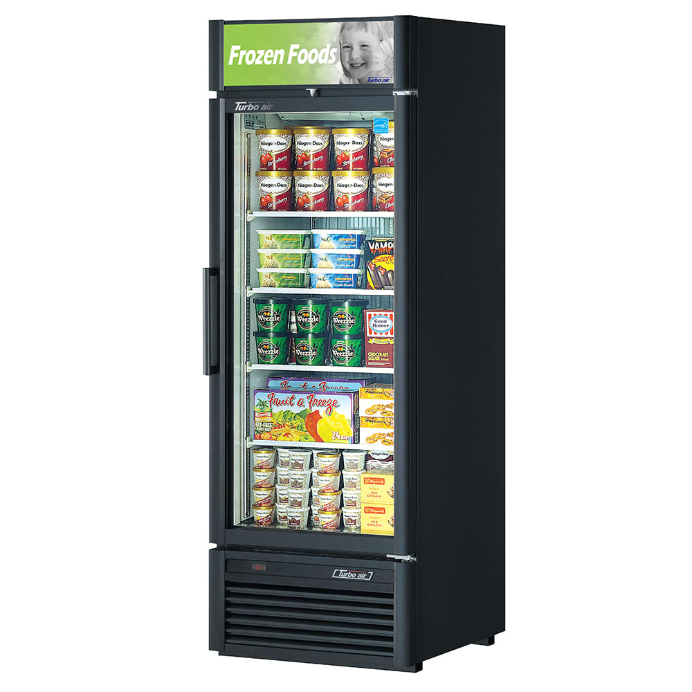 "Turbo Air TGF-23SD 27"" One-Section Display Freezer w/ Swinging Door - Bottom Mount Compressor, Black, 115v"