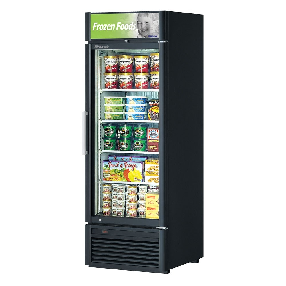 "Turbo Air TGF-23SD-N 27"" One-Section Display Freezer w/ Swinging Door - Bottom Mount Compressor, Black, 115v"
