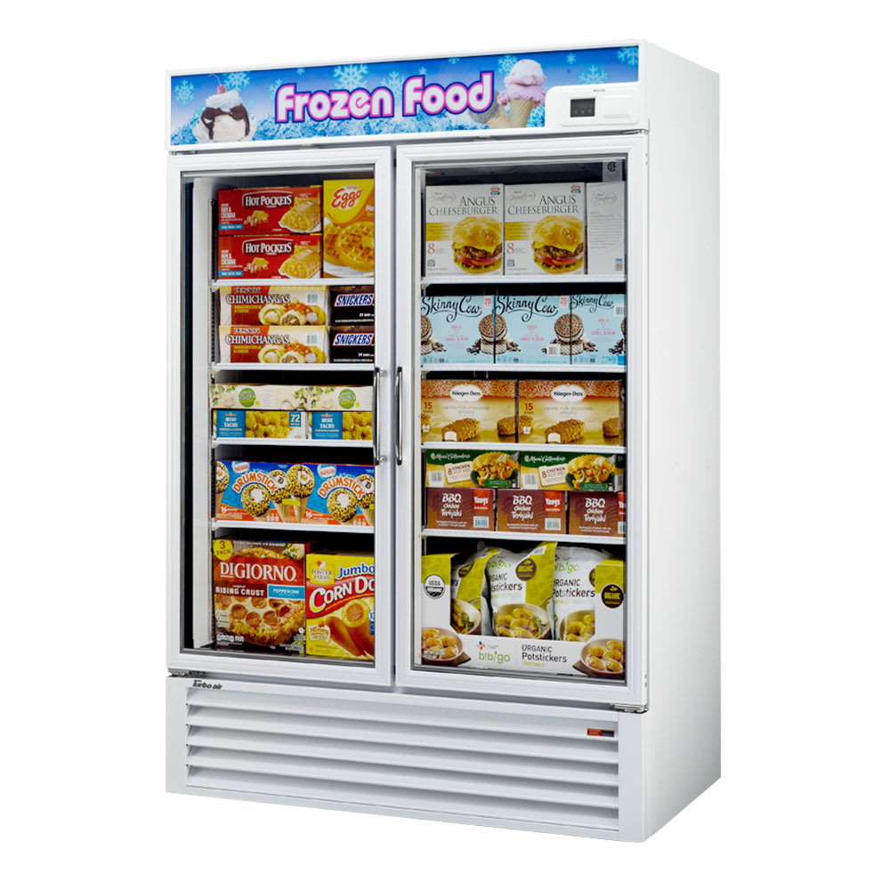 "Turbo Air TGF-49F-N 54.37"" Two-Section Display Freezer w/ Swinging Doors - Bottom Mount Compressor, 115v"