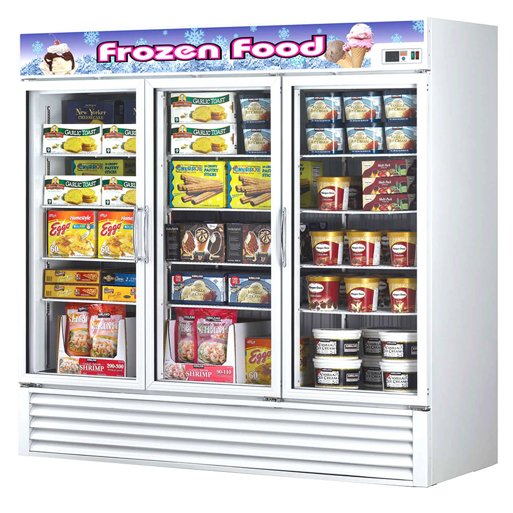 "Turbo Air TGF-72F 81.88"" Three-Section Display Freezer w/ Swinging Doors - Bottom Mount Compressor, 115v"