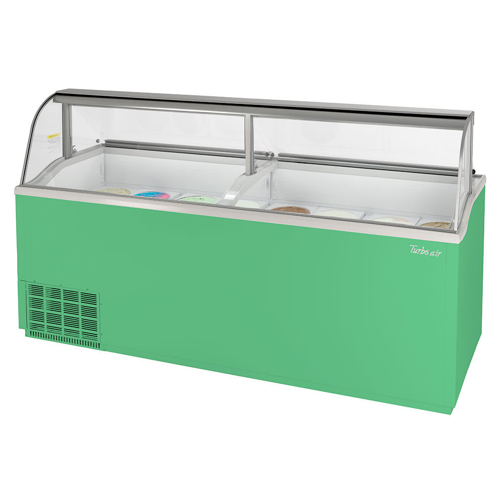"Turbo Air TIDC-91G-N 89"" Stand-Alone Ice Cream Freezer w/ (16) 3-gal Tub Capacity - Green, 115v"