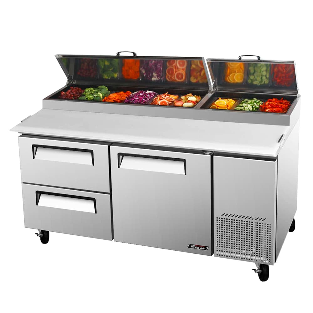 """Turbo Air TPR-67SD-D2 67"""" Pizza Prep Table w/ Refrigerated Base, 115v"""
