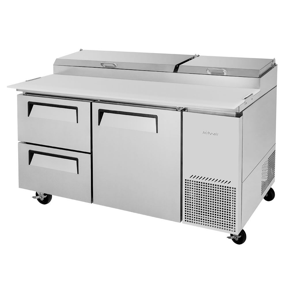 "Turbo Air TPR-67SD-D2-N 67"" Pizza Prep Table w/ Refrigerated Base, 115v"