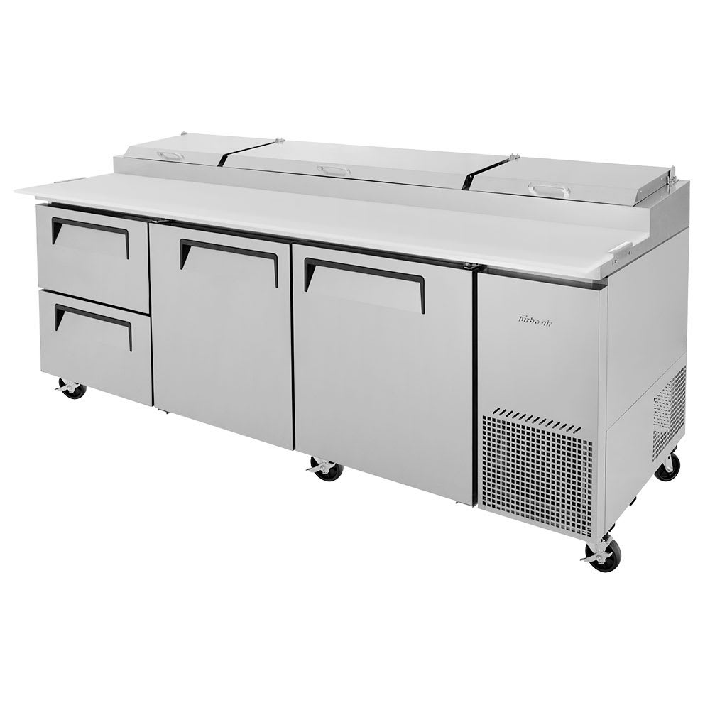 "Turbo Air TPR-93SD-D2-N 93"" Pizza Prep Table w/ Refrigerated Base, 115v"
