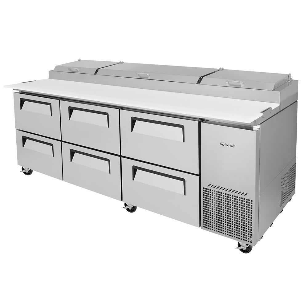 "Turbo Air TPR-93SD-D6-N 93"" Pizza Prep Table w/ Refrigerated Base, 115v"