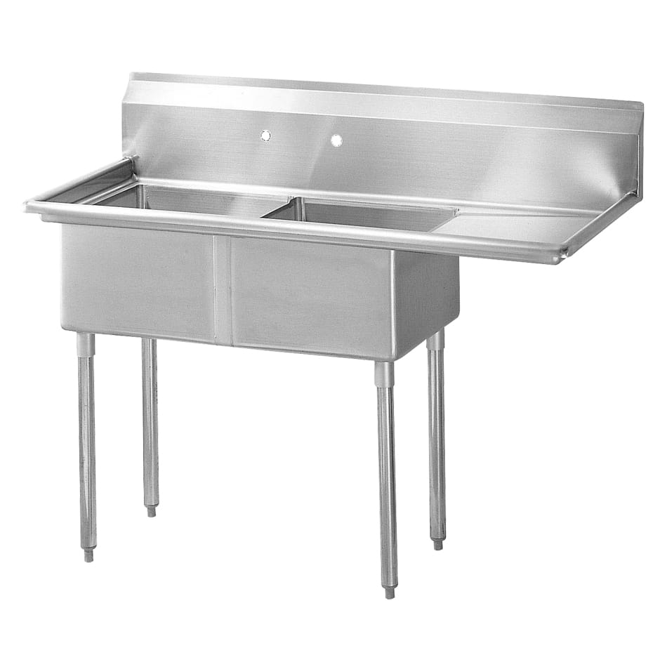 "Turbo Air TSA-2-R1 57"" 2 Compartment Sink w/ 18""L x 18""W Bowl, 11"" Deep"