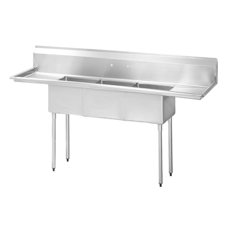 "Turbo Air TSA-3-14-D2 102"" 3-Compartment Sink w/ 18""L x 18""W Bowl, 14"" Deep"