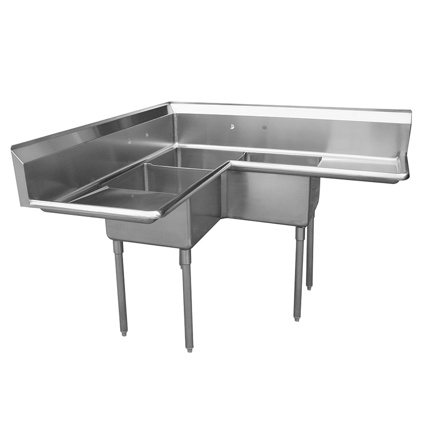 "Turbo Air TSA-3C-D1 57"" 3 Compartment Sink w/ 18""L x 18""W Bowl, 11"" Deep"
