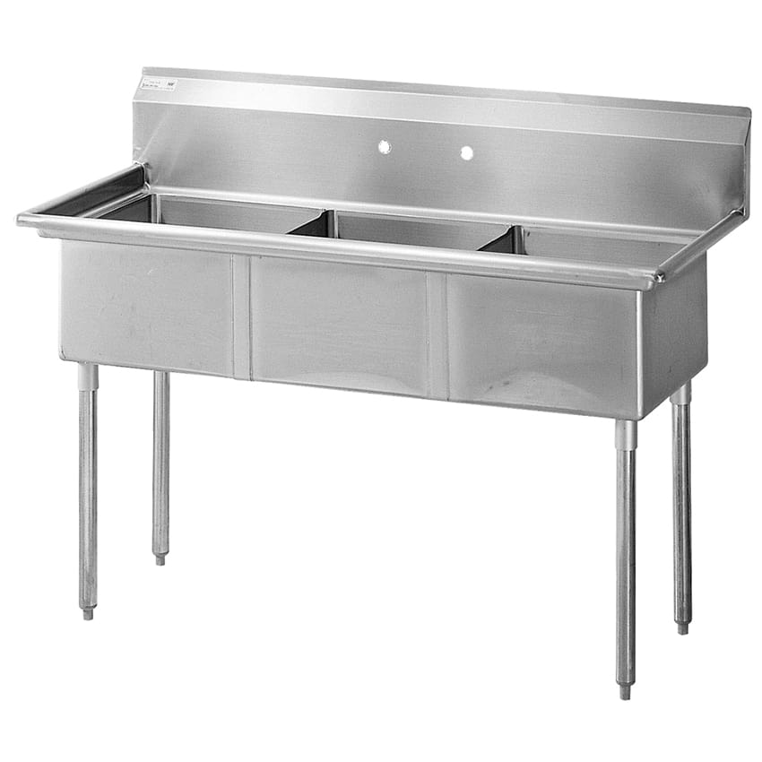 "Turbo Air TSA-3-N 60"" 3 Compartment Sink w/ 18""L x 18""W Bowl, 11"" Deep"