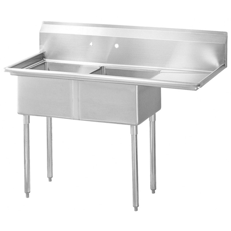 """Turbo Air TSB-2-R2 75"""" 2-Compartment Sink w/ 24""""L x 24""""W Bowl, 14"""" Deep"""
