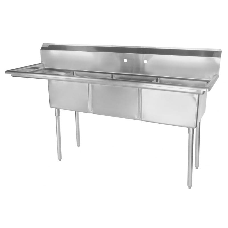 """Turbo Air TSB-3-L2 99"""" 3 Compartment Sink w/ 24""""L x 24""""W Bowl, 14"""" Deep"""