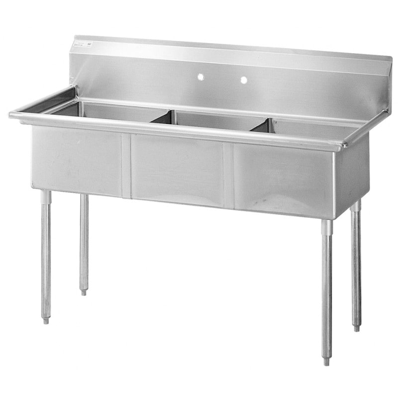 "Turbo Air TSB-3-N 78"" 3-Compartment Sink w/ 24""L x 24""W Bowl, 14"" Deep"