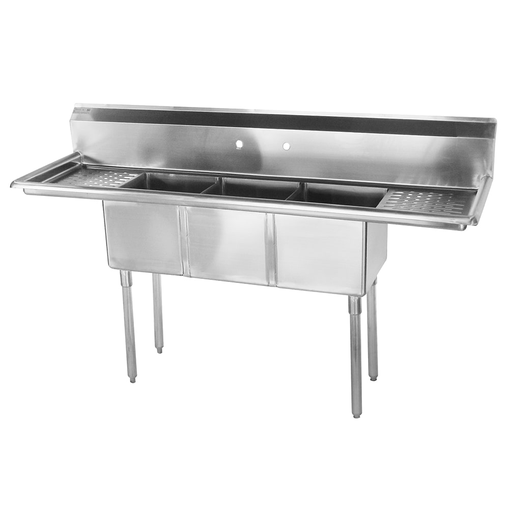 "Turbo Air TSCS-3-21 60"" 3 Compartment Sink w/ 14""L x 10""W Bowl, 10"" Deep"