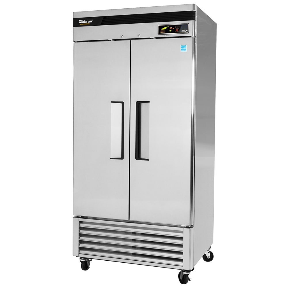 """Turbo Air TSR-35SD 39.5"""" Two Section Reach-In Refrigerator, (2) Solid Door, 115v"""