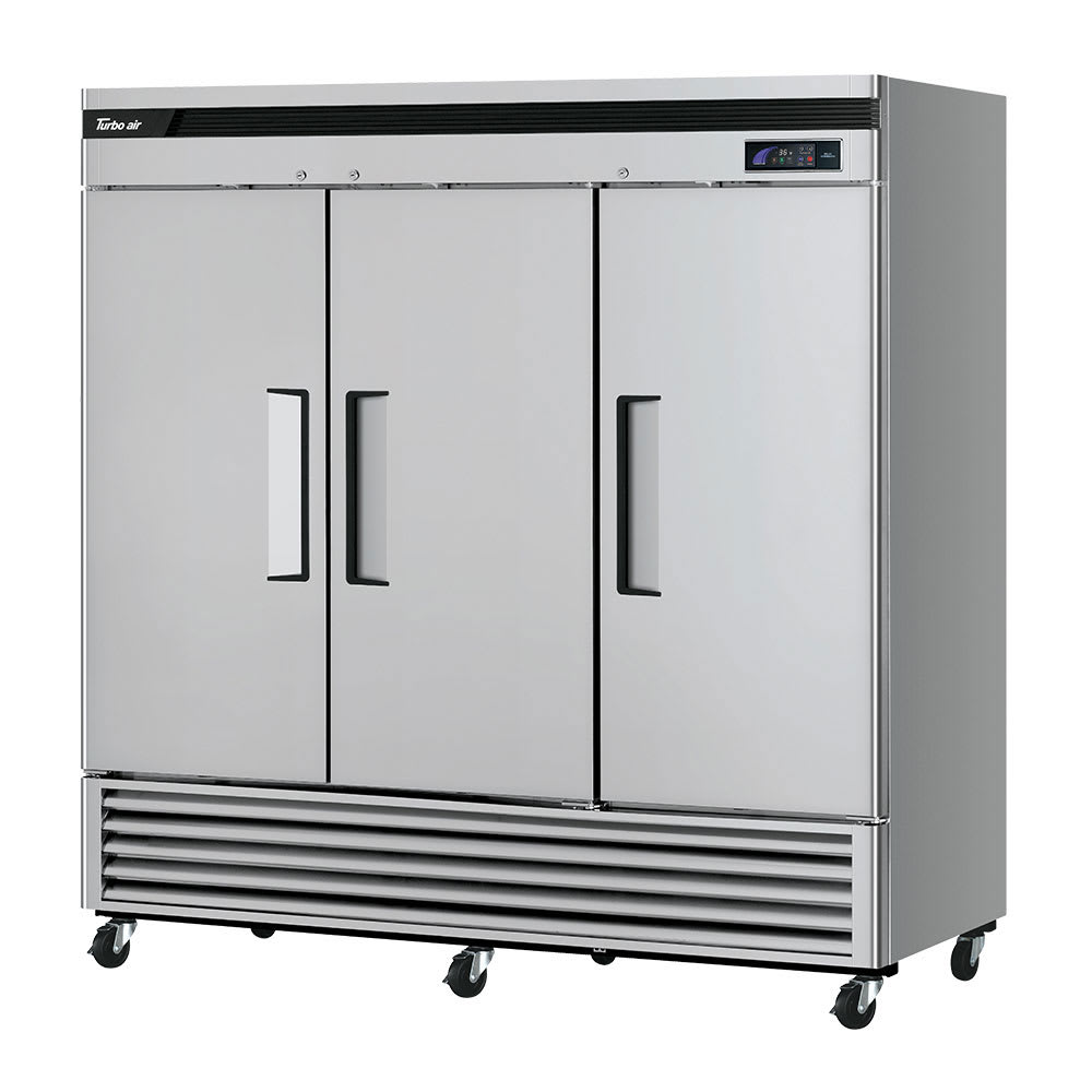 "Turbo Air TSR-72SD-N 81.88"" Three Section Reach-In Refrigerator, (3) Solid Doors, 115v"