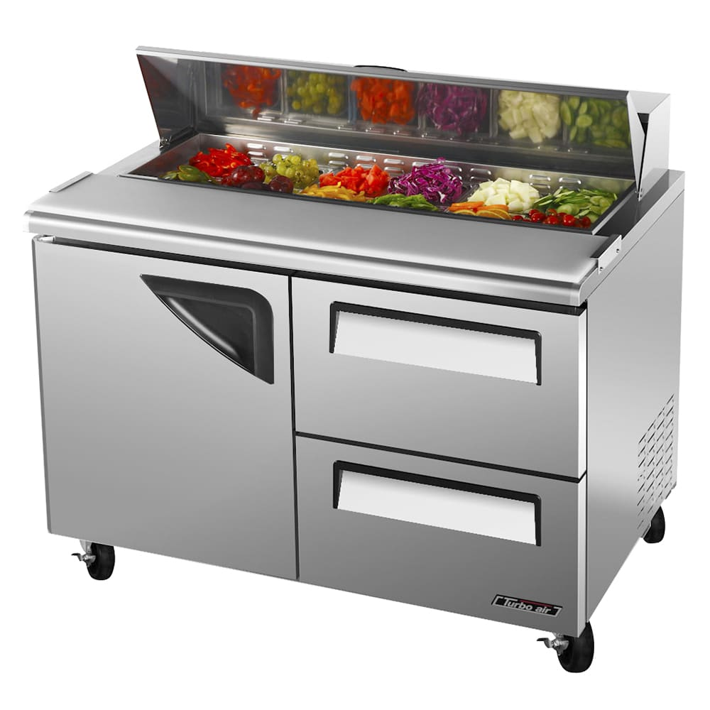 "Turbo Air TST-48SD-D2-N 48"" Sandwich/Salad Prep Table w/ Refrigerated Base, 115v"