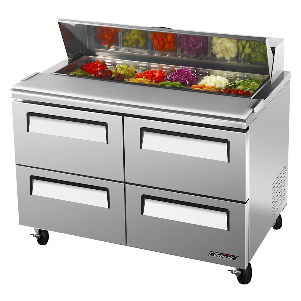 "Turbo Air TST-48SD-D4 48"" Sandwich/Salad Prep Table w/ Refrigerated Base, 115v"