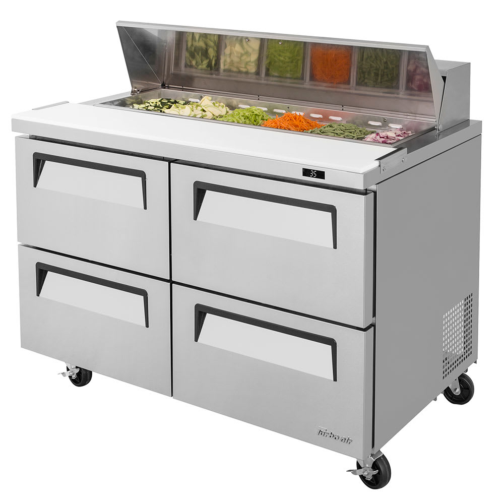 "Turbo Air TST-48SD-D4-N 48.25"" Sandwich/Salad Prep Table w/ Refrigerated Base, 115v"