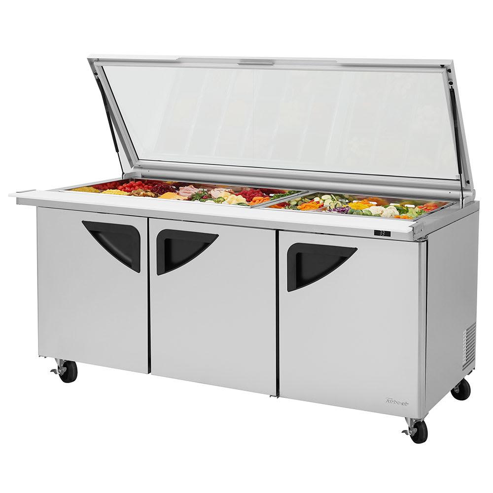 "Turbo Air TST-72SD-30-N-GL 72.63"" Sandwich/Salad Prep Table w/ Refrigerated Base, 115v"
