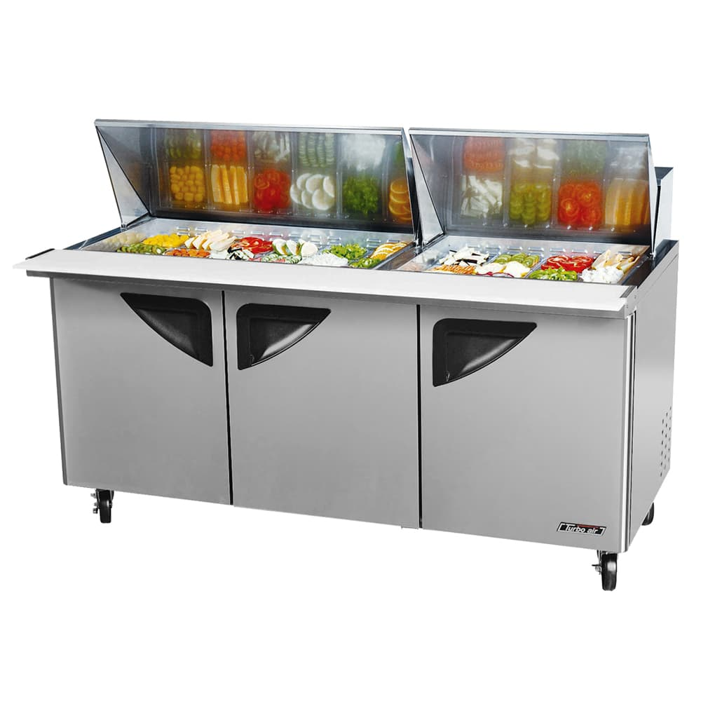 "Turbo Air TST-72SD-30-SL 72.63"" Sandwich/Salad Prep Table w/ Refrigerated Base, 115v"