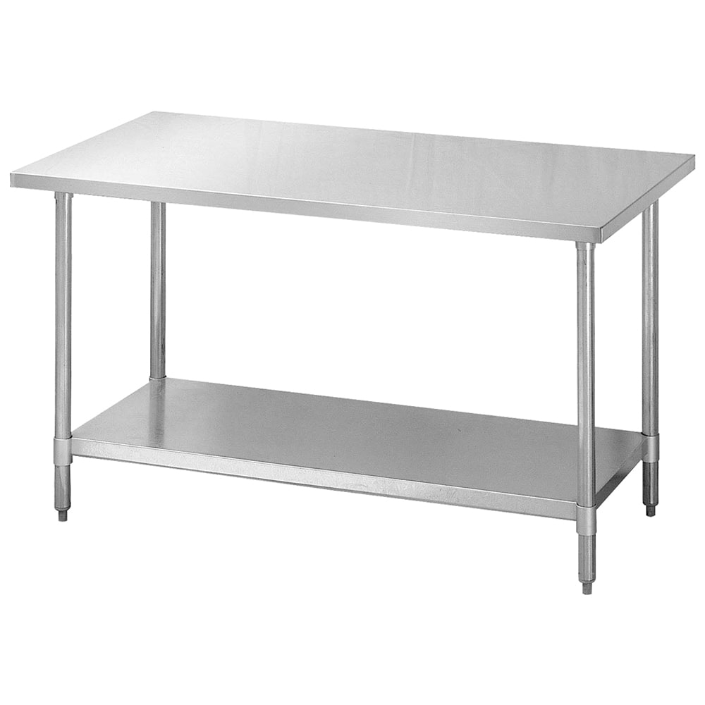 "Turbo Air TSW-2496SB 96"" Work Table, 18/304 Stainless Top w/ 1.5 Rear, Galvanized Shelf, 24"" W"
