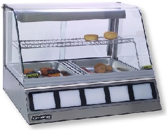 """Roundup DCH-200 30.25"""" Full-Service Countertop Heated Display Case w/ Curved Glass - (2) Pan Capacity, 120v"""