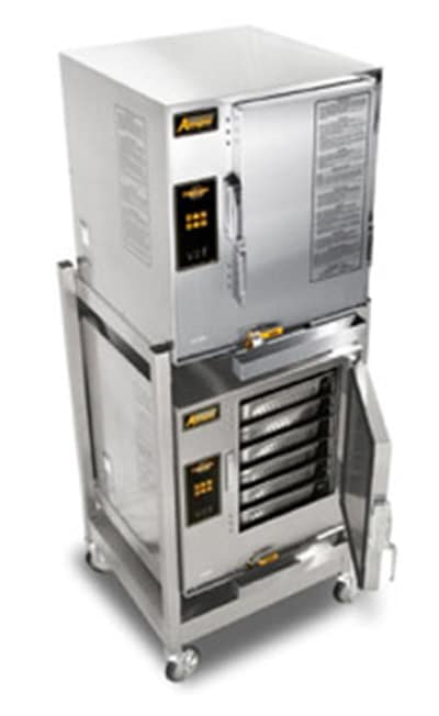 Accutemp E62081E060DBL (2) Floor Model Convection Steamer holds (12) Full Size Pans, Boilerless, 208v/1ph