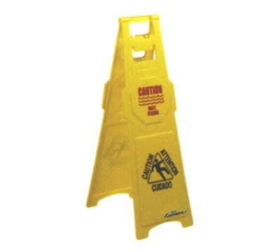 "Continental 120 Caution Wet Floor Sign, English Spanish, 12 x 37"", Yellow"