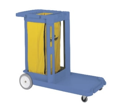 Continental 182 BL Janitorial Cart, Holds Cleaning Items & Waste Collection, Blue