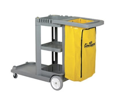 Continental 184GY-HB Janitor Cart w/ 25-Gal w/ Zippered Bag, 55 x 30 x 38-in, Grey
