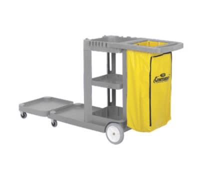 Continental 186GY-HB Janitor Cart w/ 25-Gal w/ Zippered Bag, 73 x 30 x 38-in, Grey