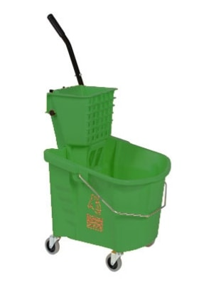 Continental 226-312 GN 26-Qt Oval Mop Bucket w/ Squeeze Wringer, Caution Symbol, Green