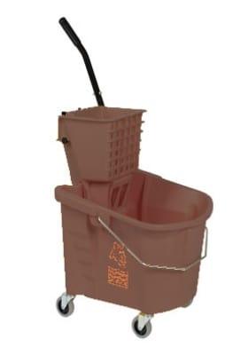 Continental 335-312 BZ 35-Qt Mop Bucket & Squeeze Wringer, Caution Symbol, Bronze