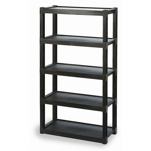 """Continental 4418-5 GY Polymer Solid Shelving Unit - 40""""L x 18""""W x 72""""H"""