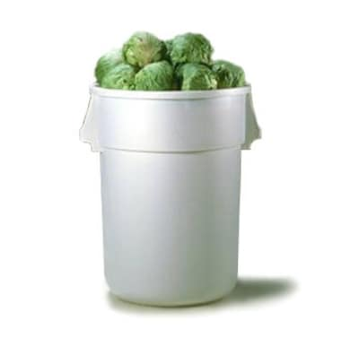 Continental 4444WH 44-gallon Commercial Trash Can - Plastic, Square, Food Rated