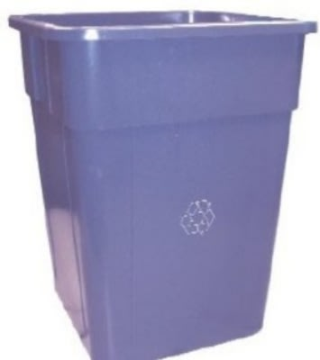 Continental 5555-1 Square Recycling Container w/ 55-Gallon Capacity, Blue