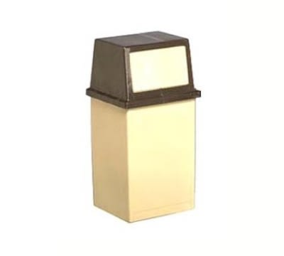 Continental 5735 BE 35-Gal King Kan Trash Can w/ Hinged Top Door Opening, Beige