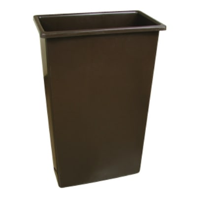 Continental 8322 BN 23-Gal Wall Hugger Trash Can, Brown