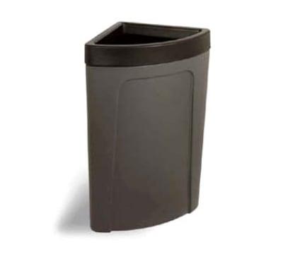 Continental 8324 BN 21-Gal Corner Round Trash Can w/ Bag Holder & Tie Down, Brown