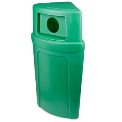 Continental 8325-2 Round 21-Gallon Recycling Receptacle w/ Hole, Green