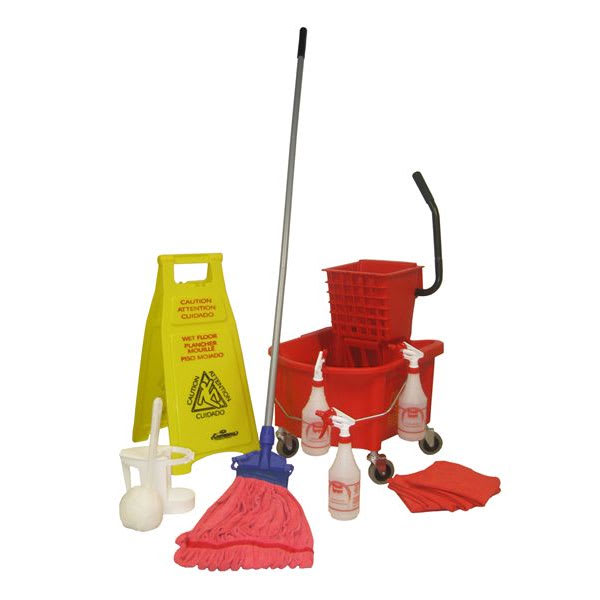 Continental RRVP1 Cleaning Kit: 26-qt Bucket & Wringer, Mop & Handle, Sign, Sprayers